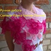 Шаль-платок с фантазийными цветами