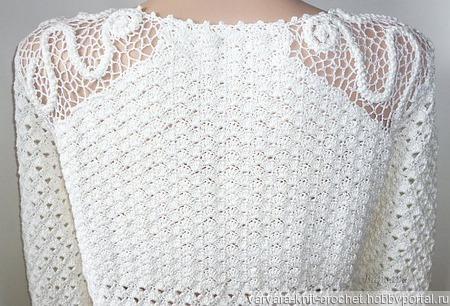 Белый вязаный джемпер ручной работы на заказ