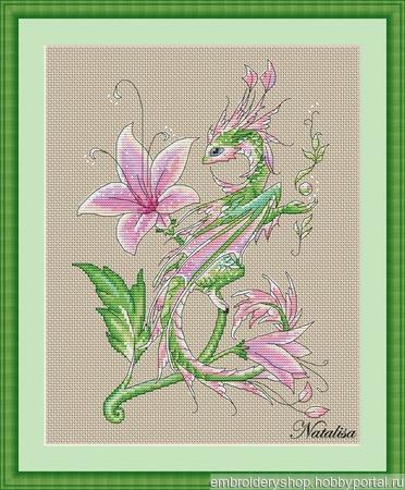 """Схема """"Дракон-цветок"""" ручной работы на заказ"""