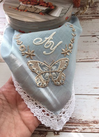 Носовой платок женский Бабочка батист кружево хлопок монограмма ручной работы на заказ