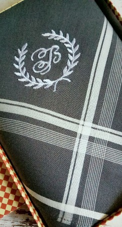 Носовой платок Мужской хлопок монограмма инициалы вензель венок ручной работы на заказ