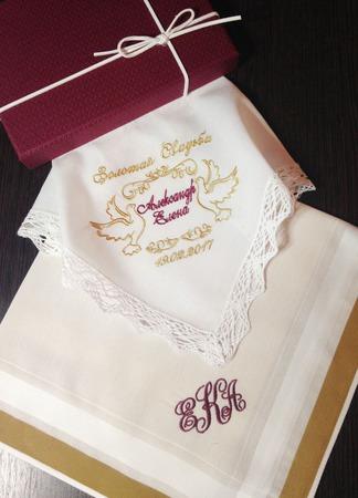 Набор Свадьба носовой платочек женский и мужской Монограмма ручной работы на заказ