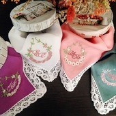 Носовой платок женский Весна батист кружево хлопок монограмма