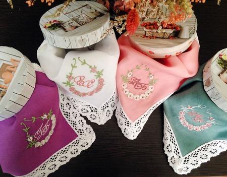 Носовой платок женский Весна батист кружево хлопок монограмма ручной работы на заказ
