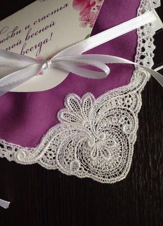 Носовой платок женский Фуксия батист кружево хлопок монограмма ручной работы на заказ