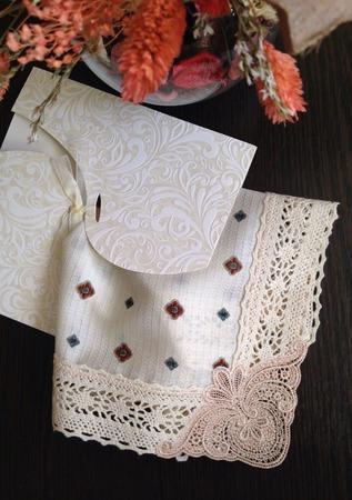 Носовой платок женский Бежевый жаккард кружево хлопок монограмма ручной работы на заказ