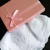 Носовой платок женский Сфинкс батист кружево хлопок монограмма