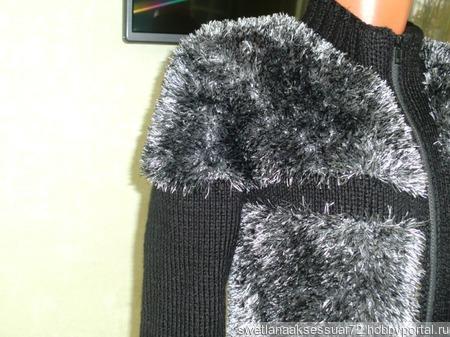 Кофта вязаная с имитацией меха чернобурки ручной работы на заказ