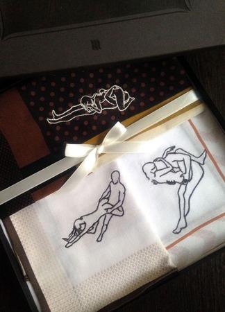 18+ Набор Эротика Носовые платки мужские Хлопок с вышивкой Монограмма ручной работы на заказ