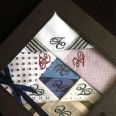 Комплект  Носовые платки мужские Хлопок  с вышивкой Монограмма