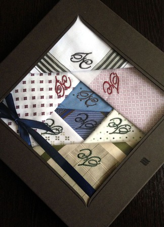 Комплект  Носовые платки мужские Хлопок  с вышивкой Монограмма ручной работы на заказ