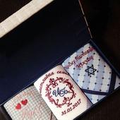 Комплект платочков Свадьба Подарок Жениху Инициалы . Монограмма