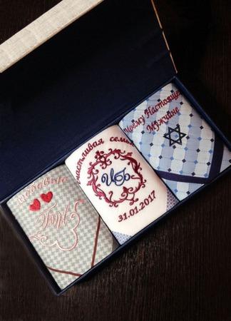 Комплект платочков Свадьба Подарок Жениху Инициалы . Монограмма ручной работы на заказ