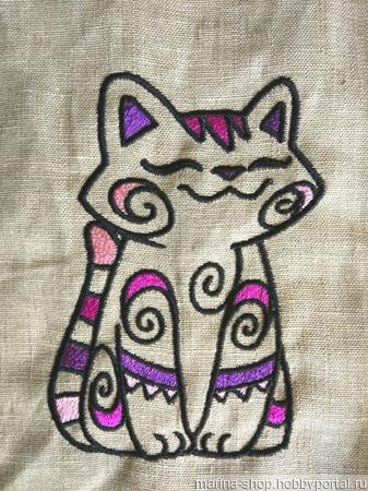 Вышивки Котик Мяу-с-с-с ручной работы на заказ