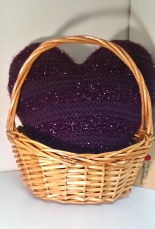 """Подушка """"Сердце фиолетовое"""" ручной работы на заказ"""