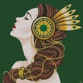 Схема вышивки Девушка с брошью в волосах