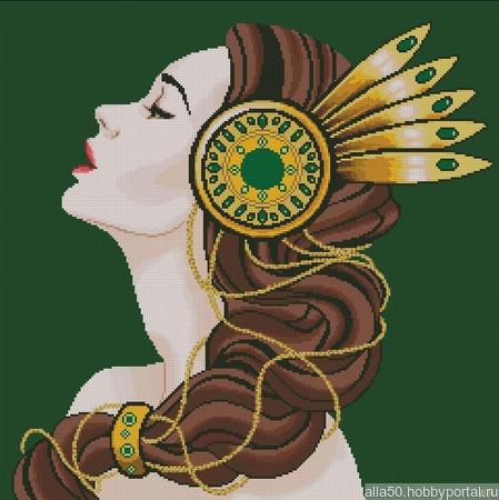 Схема вышивки Девушка с брошью в волосах ручной работы на заказ