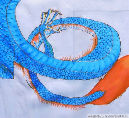 Шелковый платок с драконом. Батик ручной работы на заказ