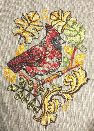 Вышивка Красный кардинал ручной работы на заказ