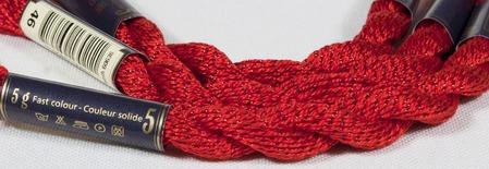 Anchor Pearl красный с серебристой нитью (46) нить для вышивания ручной работы на заказ