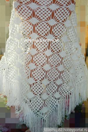 Белая шаль ручной работы на заказ