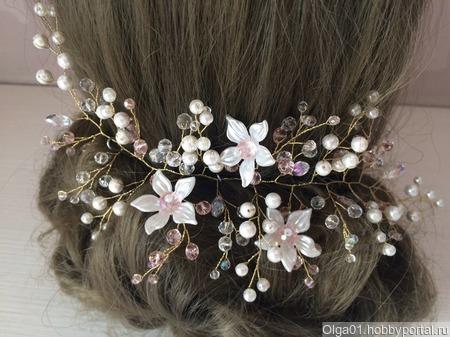 """Украшение для волос """"Жемчужно-розовая веточка"""" ручной работы на заказ"""