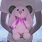 Плюшевый розовый зайка