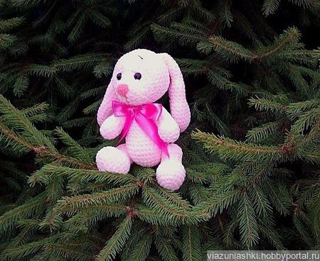 Плюшевый розовый зайка ручной работы на заказ