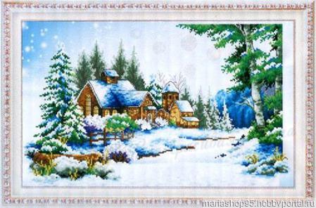 """Набор для создания картины """"Зимний домик"""" ручной работы на заказ"""