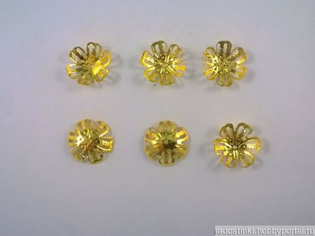 Шапочки для бусин 14мм, цвет золото ручной работы на заказ