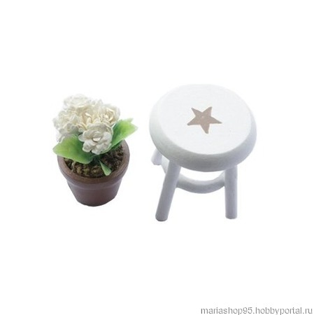 Миниатюра 'Горшочек с цветами на стуле' ручной работы на заказ