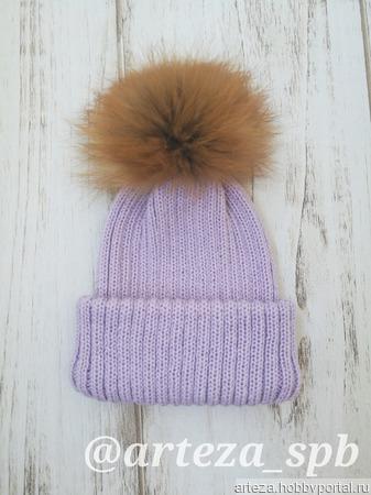 Детская вязаная шапка с двойным отворотом ручной работы на заказ