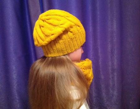 Комплект, шапка + снуд ручной работы на заказ