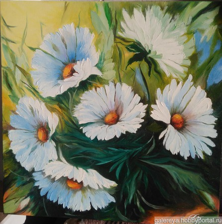 "Картина ""Белые цветы"" ручной работы на заказ"