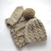 Комплект из козьего пуха, шапка с съемным помпоном, снуд, варежки