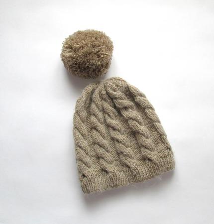 Комплект из козьего пуха, шапка с съемным помпоном, снуд, варежки ручной работы на заказ