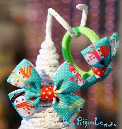 """Бантики для волос """"Новогоднее"""" ручной работы на заказ"""