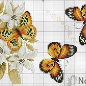 Схема вышивки крестом обложки на паспорт - бабочки