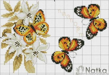 Схема вышивки крестом обложки на паспорт - бабочки ручной работы на заказ