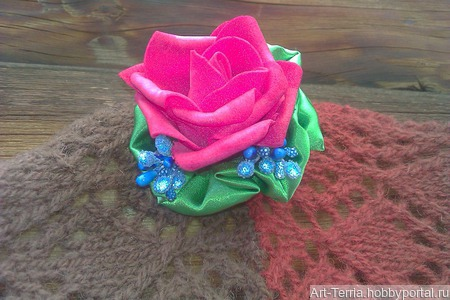 Брошь-заколка Роза ручной работы на заказ