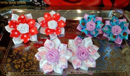 """Канзаши с розами """"Лето"""" ручной работы на заказ"""