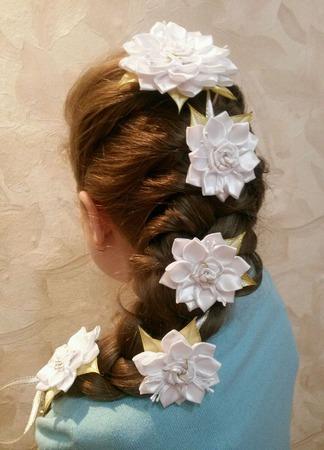 """Лента в косу """"Роза"""" ручной работы на заказ"""