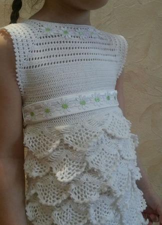 """Платье вязаное белое """"Полёт бабочки"""" ручной работы на заказ"""