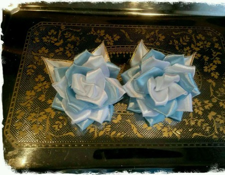 """Заколки-канзаши розы """"Цветок любви"""" ручной работы на заказ"""