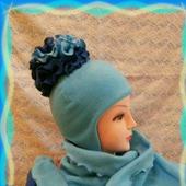 """Шапка и шарф для девочки """"Голубая роза"""""""