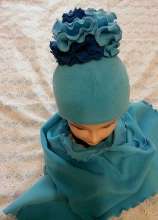 """Шапка и шарф для девочки """"Голубая роза"""" ручной работы на заказ"""
