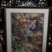"""Вышитая картина """"Взгляд леопарда"""""""