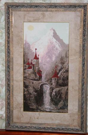 """Вышитая картина """"Древняя крепость"""" ручной работы на заказ"""