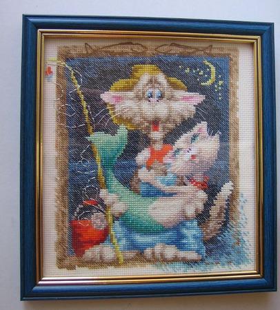 "Вышитая картина ""Рыбка моя"" ручной работы на заказ"