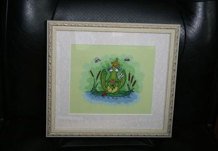 """Вышитая картина """"Царевна-лягушка"""" ручной работы на заказ"""
